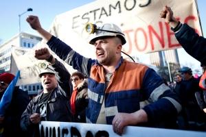 Mineros en Madrid. Fotografía de Javi Julio